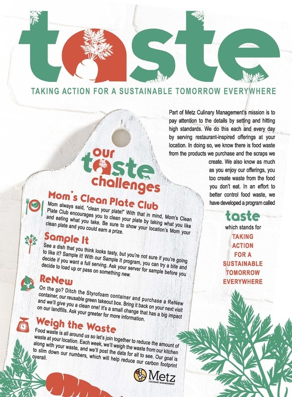 TASTE poster explaining our sustainability efforts on campus